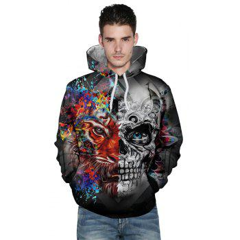 New Fashion Skull 3D Printing Men's Hoodie - multicolor A 2XL