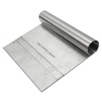 Stainless Steel Measuring Guide Pastry Scraper Pizza Dough Cutter and Chopper - STAINLESS STEEL