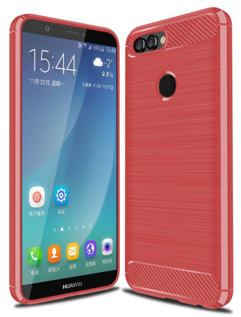 Carbon Fiber Brushed Drop Soft Shell for HUAWEI P smart - RED