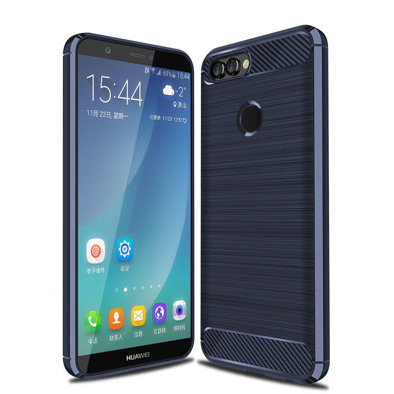 Carbon Fiber Brushed Drop Soft Shell for HUAWEI P smart - BLUE