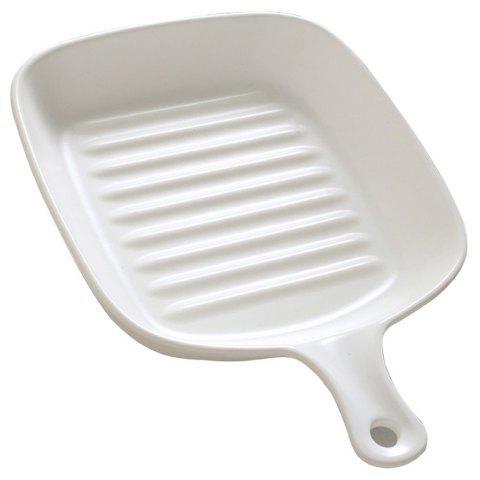 Simple Ceramic Household Baking Tray with Handle - WHITE