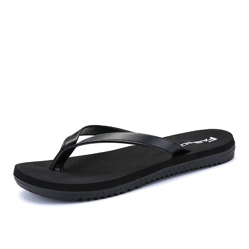 Outdoor Casual Flip Flops Walking Beach Lovers Shoes - BLACK 38