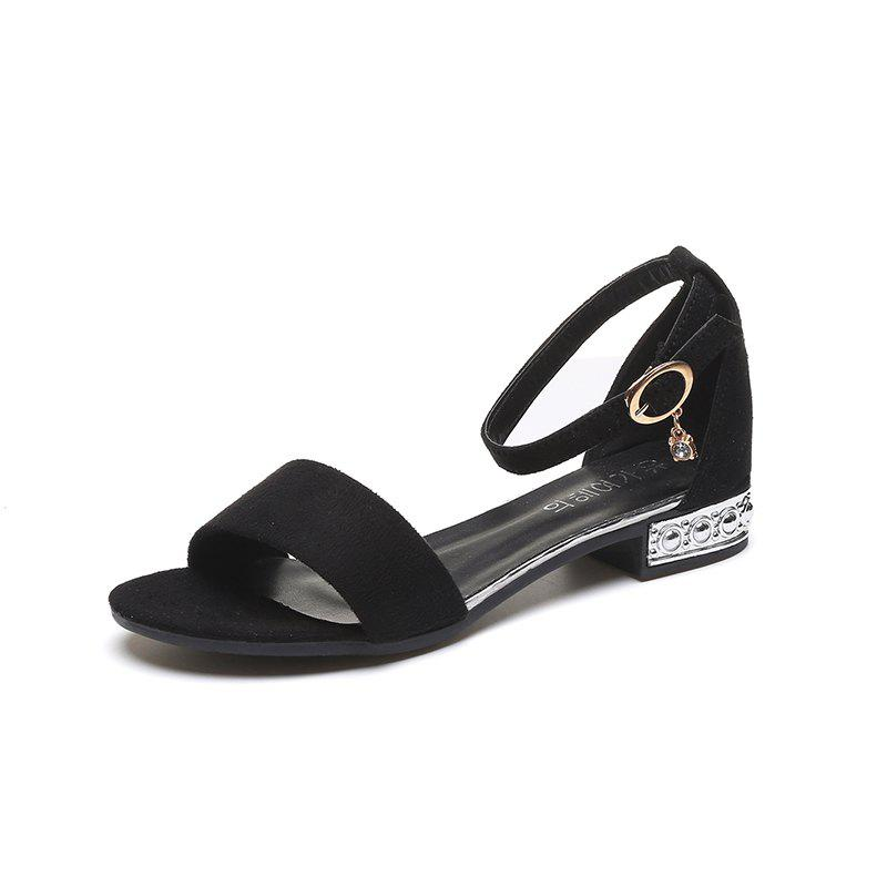Flat Bottom Button Sandal Woman Thick Heel - BLACK 39