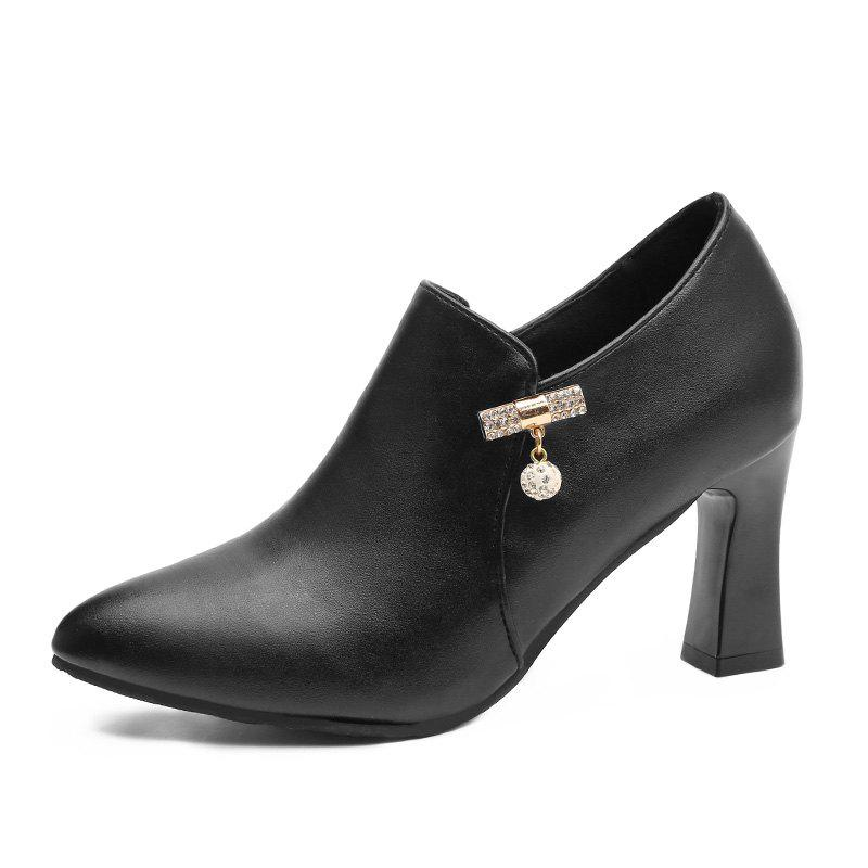A Deep All-match Diamond High Heels - BLACK 39