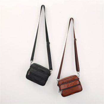 Genuine Leather Men Small Bag Shoulder Messenger Bags Travel Waist Pack Phone Pouch - BROWN