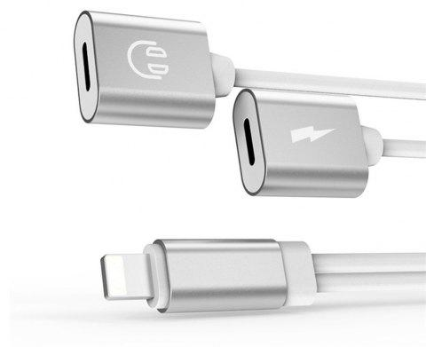 2 in1 Splitter Headphone Audio with Charge Adapter for iPhone X/ iPhone8/ iPhone 8 Plus/7/ iPhone7 Plus - SILVER