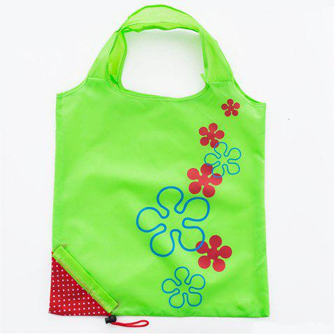 Portable Strawberry Foldable Shopping Tote Eco Reusable Recycle Bag - GREEN APPLE