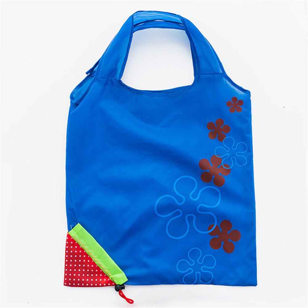 Portable Strawberry Foldable Shopping Tote Eco Reusable Recycle Bag - SEA BLUE