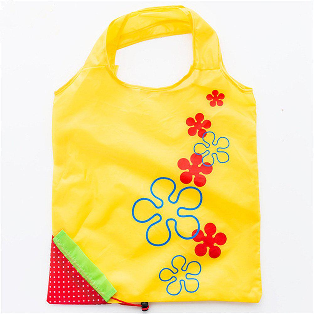 Portable Strawberry Foldable Shopping Tote Eco Reusable Recycle Bag - YELLOW