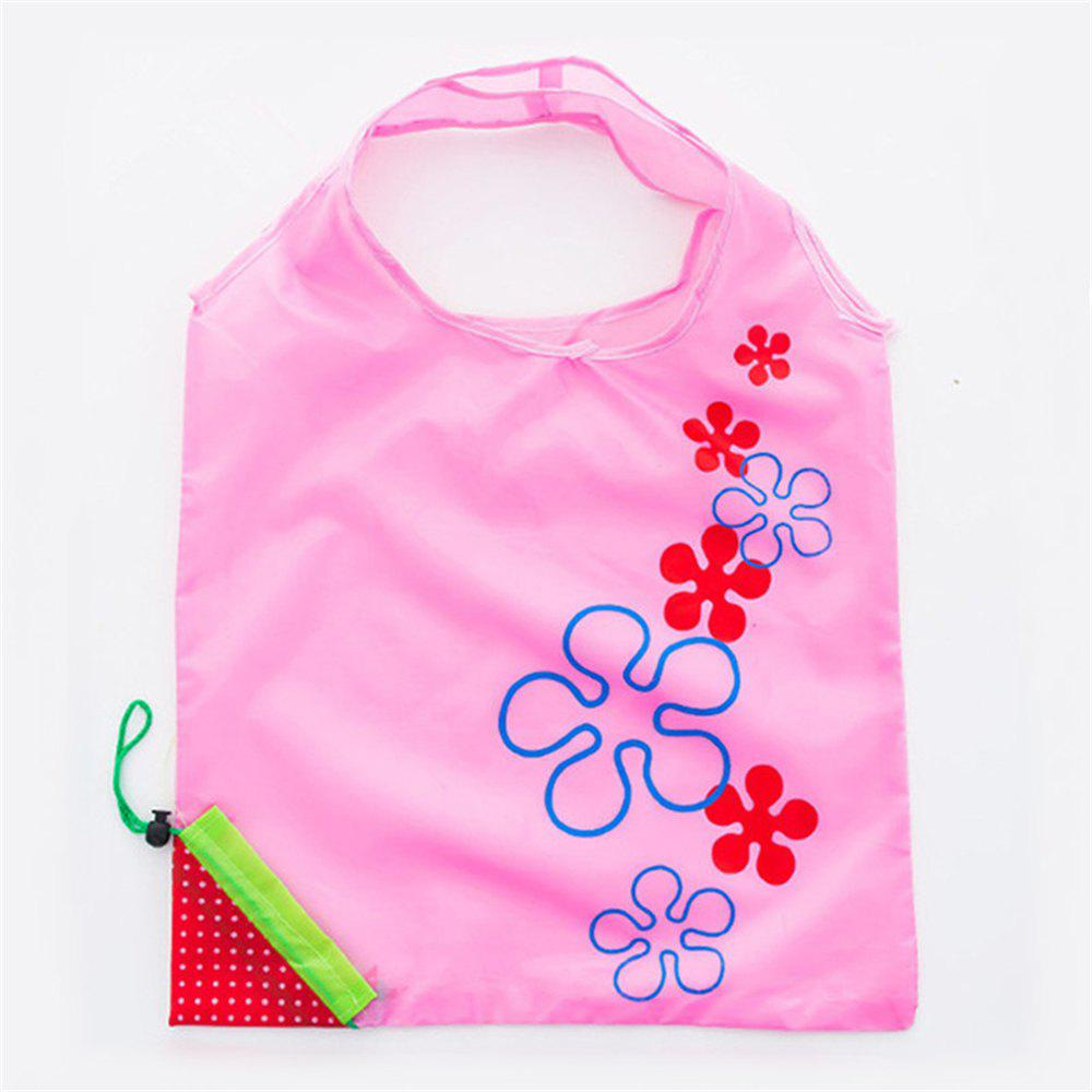 Portable Strawberry Foldable Shopping Tote Eco Reusable Recycle Bag - PIG PINK