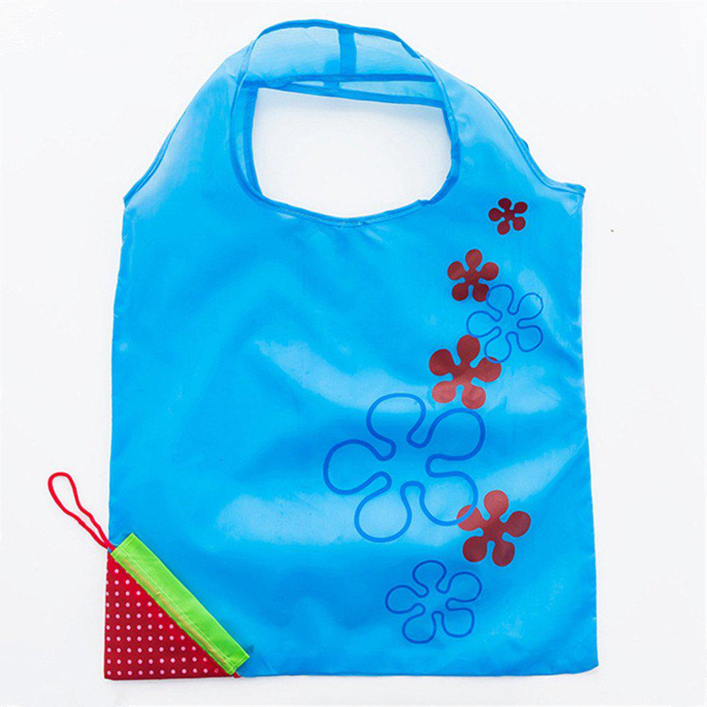 Portable Strawberry Foldable Shopping Tote Eco Reusable Recycle Bag - LIGHT BLUE
