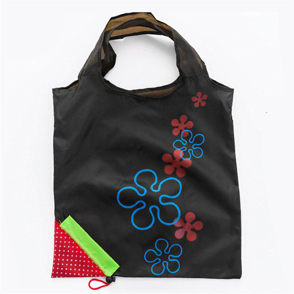 Portable Strawberry Foldable Shopping Tote Eco Reusable Recycle Bag - BLACK