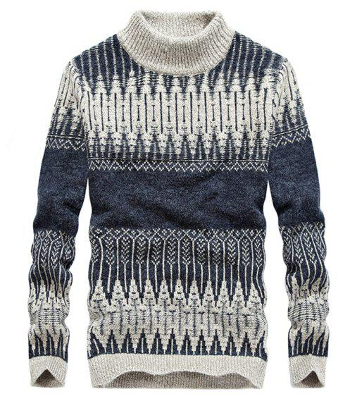 New Men Warm Casual High Collar Pullover Youth Sweater - BLUE GRAY XL