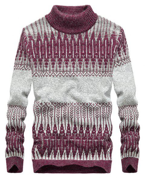 New Men Warm Casual High Collar Pullover Youth Sweater - RED WINE L
