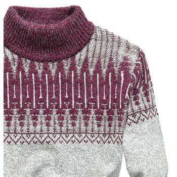 New Men Warm Casual High Collar Pullover Youth Sweater - RED WINE 3XL