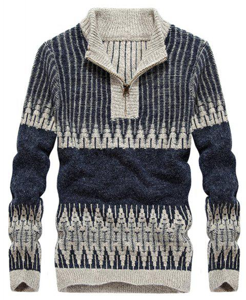 Fashion Hit Color Round Neck Zipper Pullover Sweater - EARTH BLUE L