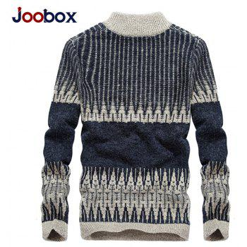 Fashion Hit Color Round Neck Zipper Pullover Sweater - EARTH BLUE M
