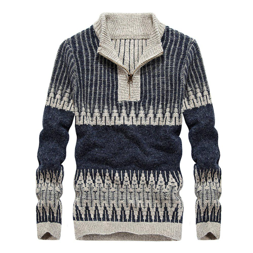 Fashion Hit Color Round Neck Zipper Pullover Sweater - EARTH BLUE 2XL