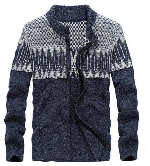 Men Sweaters Men Cashmere Cardigans - EARTH BLUE 3XL