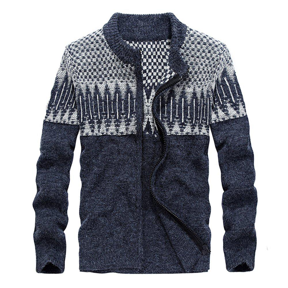 Men Sweaters Men Cashmere Cardigans - EARTH BLUE M