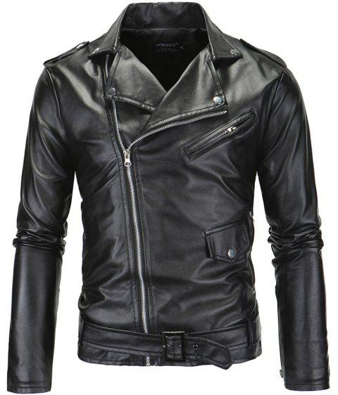 Men PU  Slanted Zipper Jacket - BLACK XL