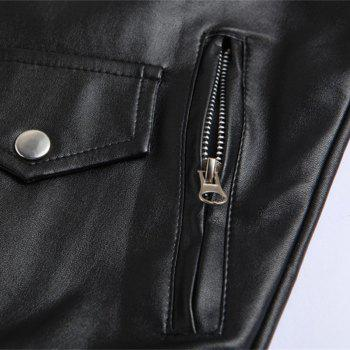 Men PU Slanted Zipper Jacket - Noir 4XL