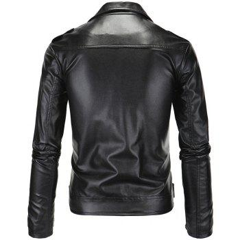 Men PU  Slanted Zipper Jacket - BLACK M