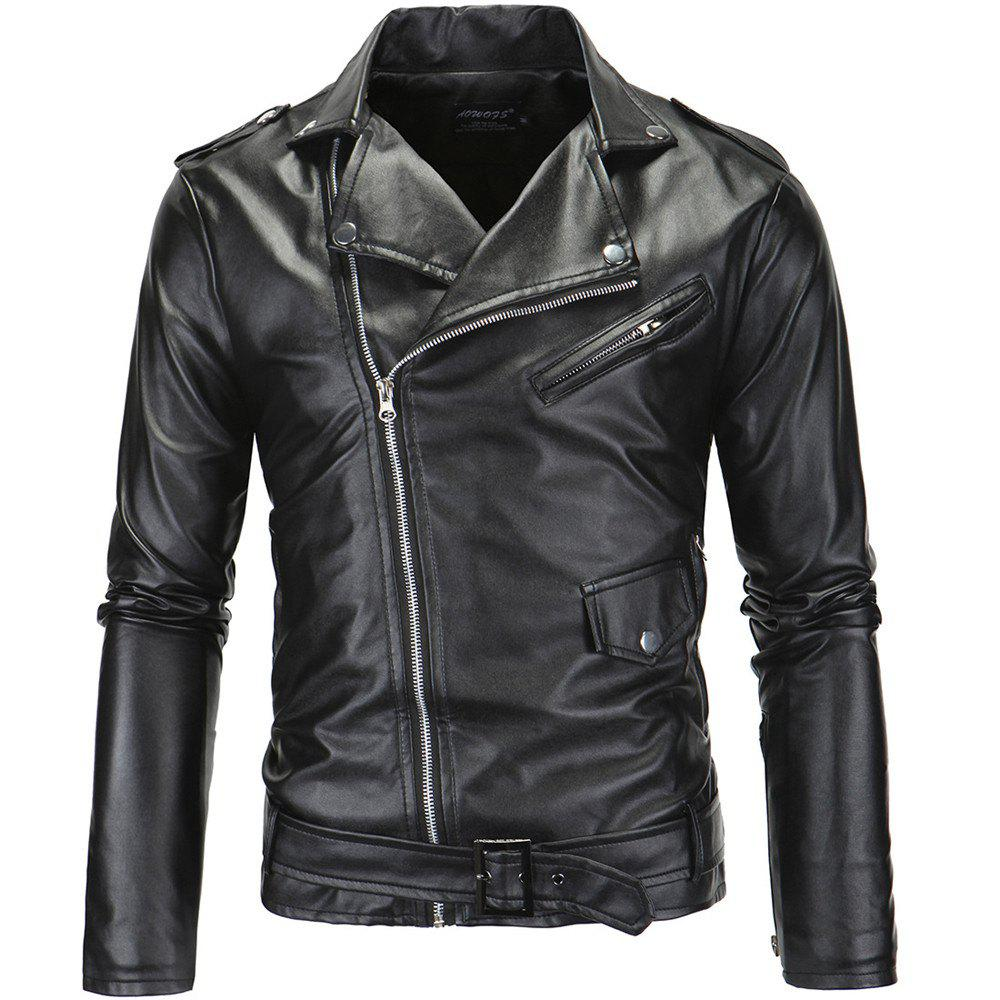 Men PU Slanted Zipper Jacket - Noir 3XL