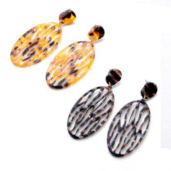 Fashion New Acrylic Oval Hollow Thin Face Earrings Simple Personalized Accessories - BRIGHT YELLOW