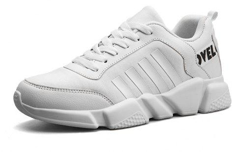 New Men's Lightweight Solid Color Classic Sneakers - WHITE 42