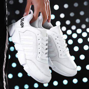 New Men's Lightweight Solid Color Classic Sneakers - WHITE 40