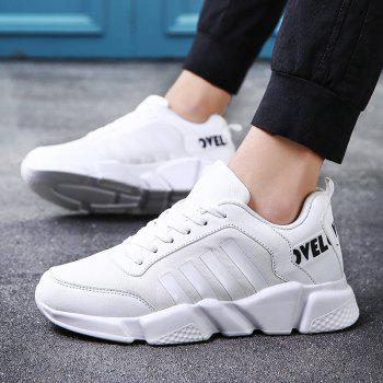 New Men's Lightweight Solid Color Classic Sneakers - WHITE 44