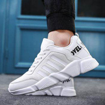 New Men's Lightweight Solid Color Classic Sneakers - WHITE 39