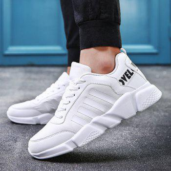 New Men's Lightweight Solid Color Classic Sneakers - WHITE 41