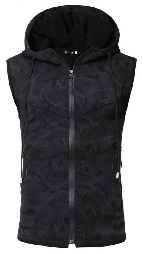 Men'S Personality Camouflage Print Hooded Vest Waistcoat - BLACK XL