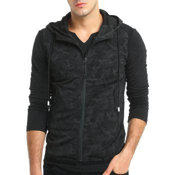 Men'S Personality Camouflage Print Hooded Vest Waistcoat - BLACK 2XL