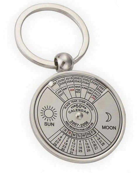 Creative Personality High Quality Metal Chinese English Compass Calendar Keychain - SILVER