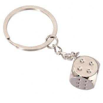 High-quality Personalized Dice Metal Keychain Creative Gift - SILVER