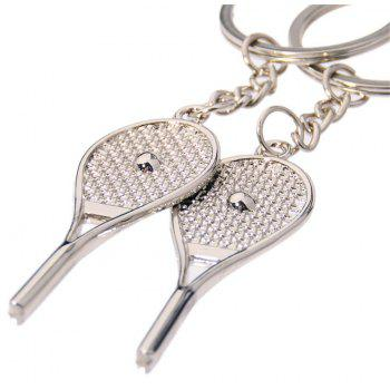 Cute Tennis Racket Couple Metal Keychain Small Pendant 2PC - SILVER