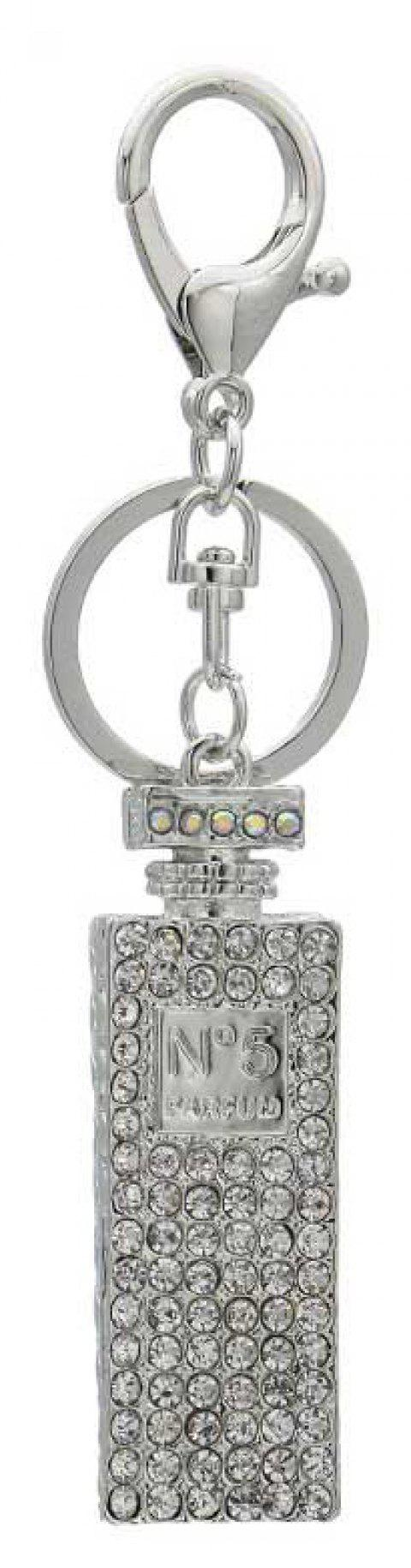 Creative Perfume Bottle Shape Decoration Rhinestone Key Chain - SILVER