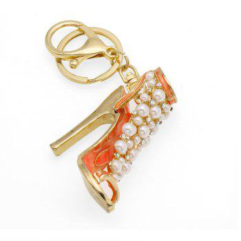 Creative Fashion High Heels Shape Decoration Rhinestone Key Chain - PUMPKIN ORANGE