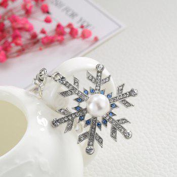 Creative Snowflake Shape Decoration Rhinestone Key Chain - SILVER