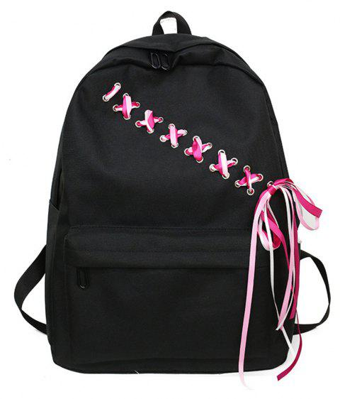Canvas Large Capacity Fashion Small Fresh and Simple Ladies Travel Backpack Tide - BLACK