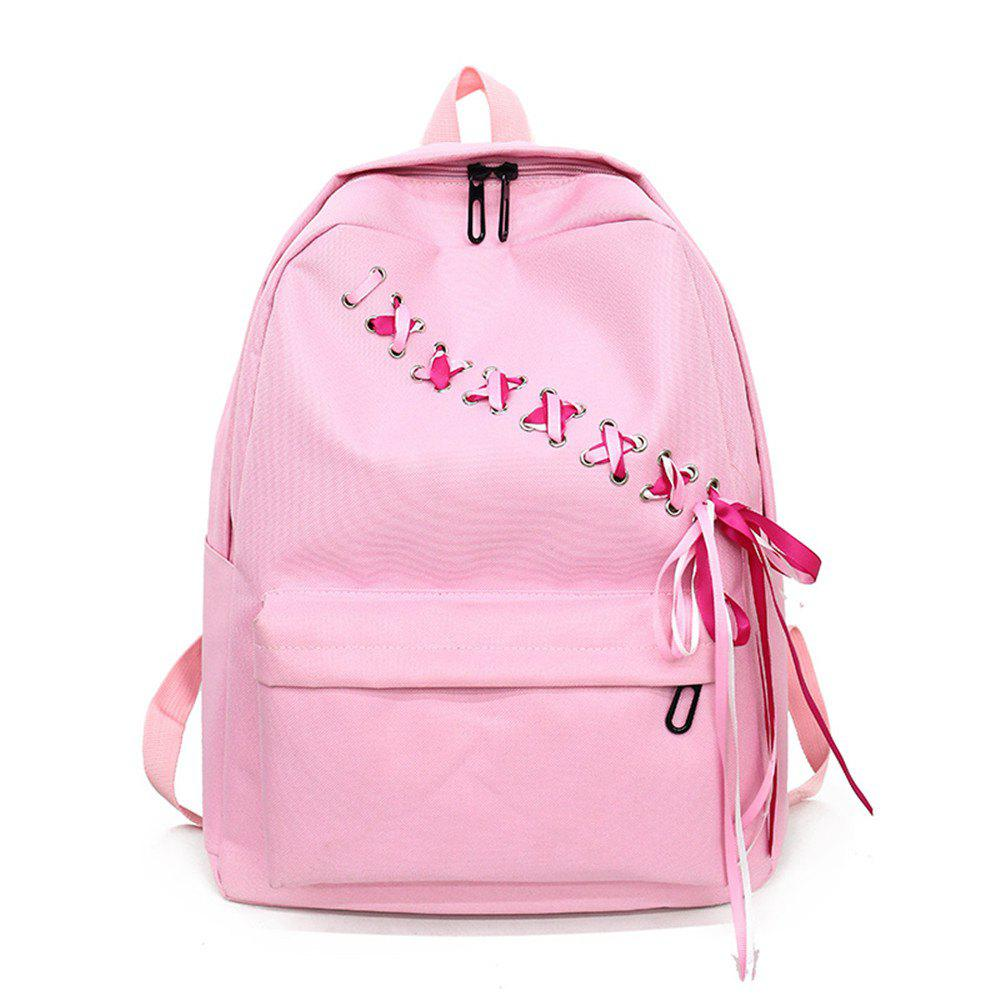Canvas Large Capacity Fashion Small Fresh and Simple Ladies Travel Backpack Tide - PINK