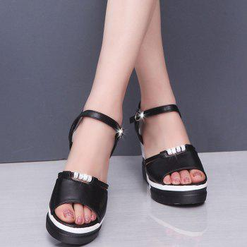Summer New Muffin Thick-Bottomed Fish Sandals - BLACK 35