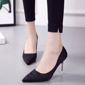 New Pointed Fine with Air Shoes in High Heels - BLACK 35