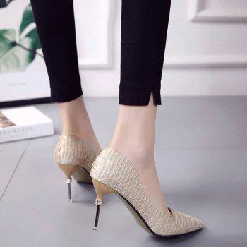 New Pointed Fine with Air Shoes in High Heels - GOLD 37