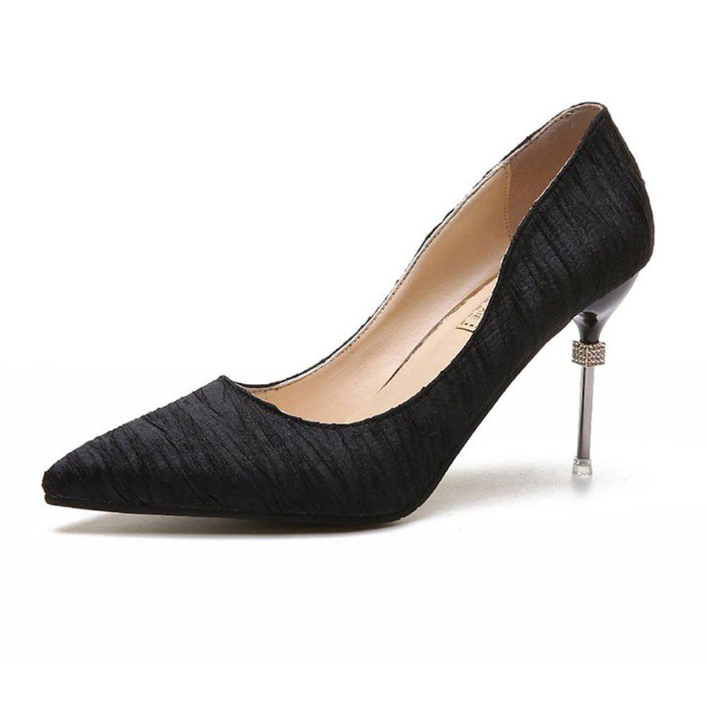 New Pointed Fine with Air Shoes in High Heels - BLACK 37