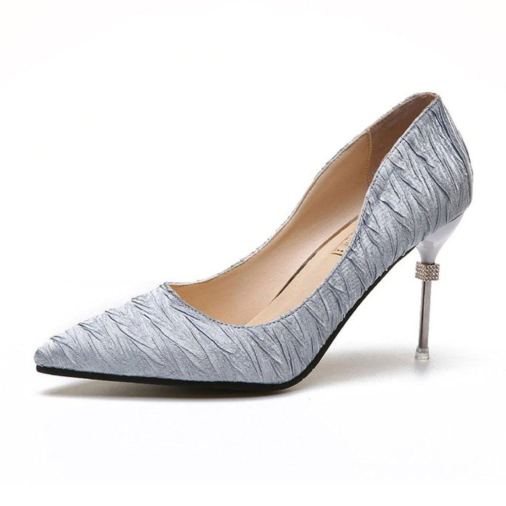 New Pointed Fine with Air Shoes in High Heels - SILVER 39