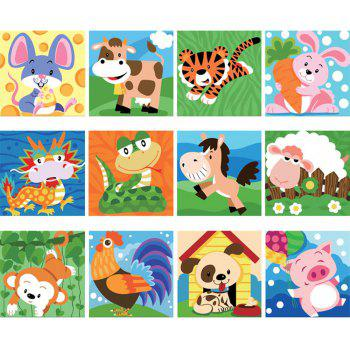 Kids Oil Painting Chinese zodiac signs DIY Paint by Numbers  Education and Art Brush  12pcs - WHITE